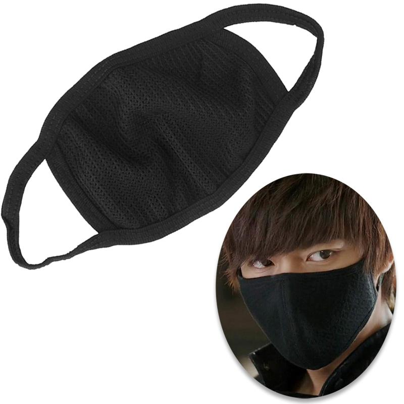 Korean Style Black Dust Protective Mask Half Mouth Fashion Warm Cotton Windproof Breathable Cute Anti-Dust Masks Mask B0C7