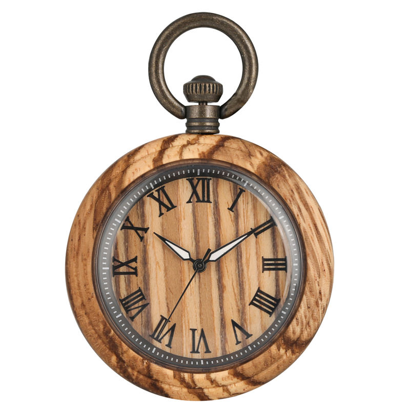 Retro Wooden Quartz Pocket Watch Female Luminous  Thick Chain Male Pendant Watches Father Gift Wood Case Orologio Da Taschino