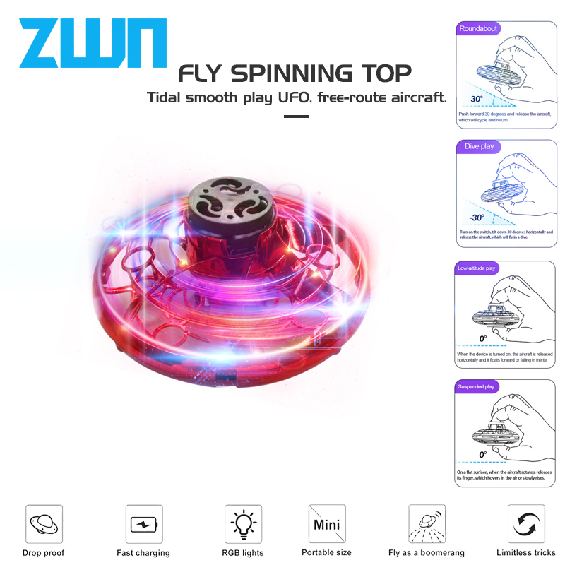 ZWN F10 Flying Fidget Spinner Athletic Game Toy Antistress Gyro Rotator Drone Plane Led Finger Spinner Route Rotary Child Gift