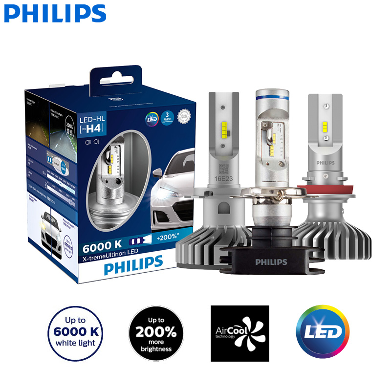 Philips X-treme Ultinon LED H4 H7 H8 H11 H16 9005 9006 HB3 HB4 12V 6000K Car LED Head Light Auto Fog Lamps +200% Brighter (Twin)