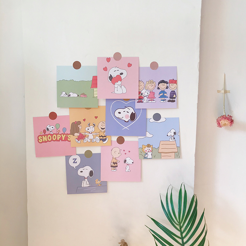 Ins 9 Sheets Cute Cartoon Puppy Pink Decoration Sticker Room Illustration Metope Background Card Kawaii Postcard Photograph Prop