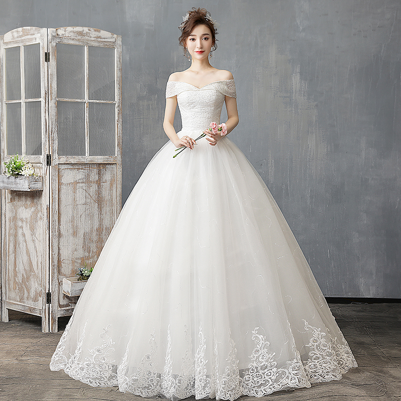 Off The Shoulder Wedding Dress 2019 New Light And Simple Wedding Dress  Plus Size Bridal Gown