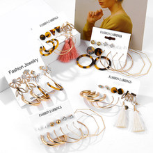 31 Design Fashion Acrylic Pearl Earrings Set For Women Bohemian Leopard Tassel Stud Earrings 2019 Brincos Geometric DIY Jewelry(China)