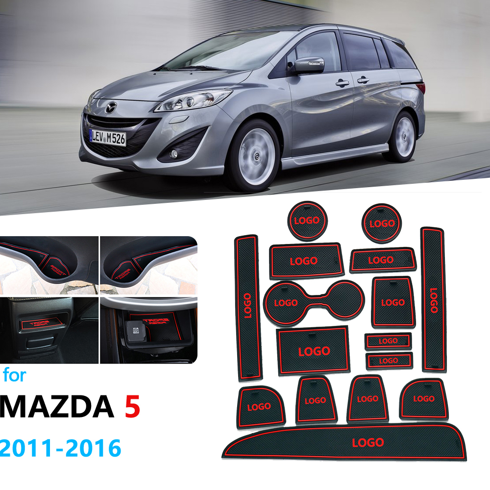 Anti-Slip Rubber Gate Slot Cup Mat For Mazda 5 Premacy 2011 2012 2013 2014 2015 2016 MK3 Mazda5 Coaster Car Accessories Stickers