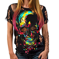 Summer Hole Short Sleeve Women's Backless Round Neck Skeleton Printing Fashion Personality Casual Streetwear Sexy T-Shirt