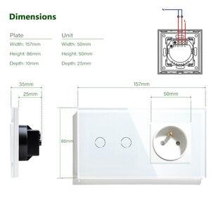 Image 4 - Franse Stopcontact Lichtschakelaar 1/2/3 Gang Met 1 Manier Elektrische Stopcontacten Crystal Glass Touch Panel 16A frankrijk Rechthoekige