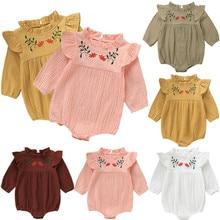 Детский хлопковый комбинезон для новорожденных девочек, комбинезон, льняная одежда с длинными рукавами и вышивкой