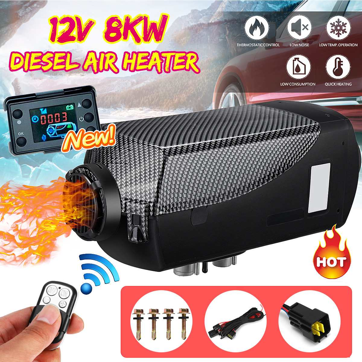 12V 8KW Diesel Air Heater Remote Control Thermostat Motorhome RV Boat Trailer US
