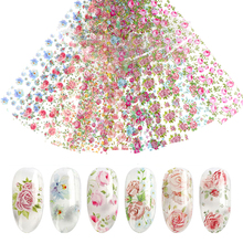 10 pieces set nail leaf stickers varnish mix Rose flower transfer decal sliders for Nail Art decoration manicure Desi