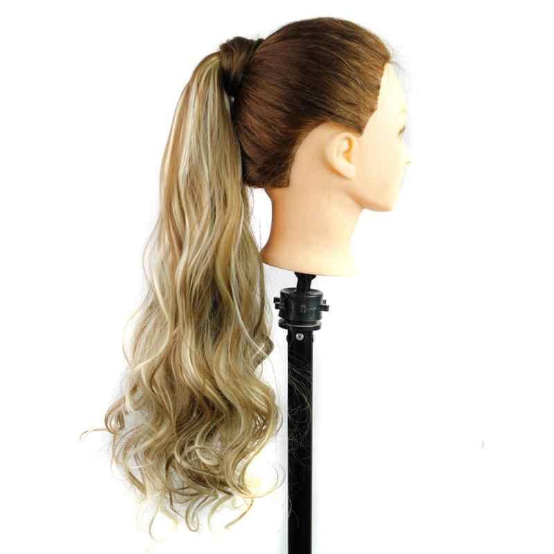 Peluca de cola de caballo de rollo largo, cordón rizado, cola de caballo, peluca sintética, pieza de pelo para mujeres, moño falso, Clip en la extensión del cabello