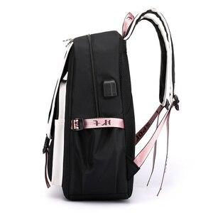 Image 3 - Fengdong kids school backpack for girls korean style black pink cute backpack schoolbag kawaii backpacks for teenage girls gift