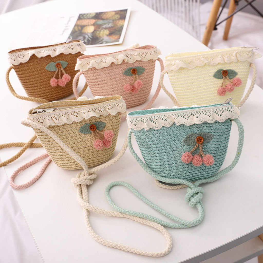 Women Bags Fashion cherry Decorative Woven Children's Messenger woman bag sac a main femme de marque soldes bolsa feminina