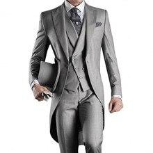 Смокинг для жениха на одной пуговице жениха мужской фрак Лучший человек пик лацканы жениха Мужские свадебные костюмы есть части пиджак+ брюки+ жилет