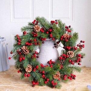 Image 4 - Декорированный искусственный Рождественский венок, зеленые ветви с сосновыми шишками, красные ягоды, внутреннее/наружное Рождественское украшение 45 см