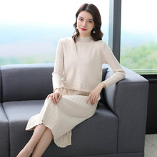 Autumn Winter Women Pure Knitting Dresses White Blue Green Chic Warm 2pcs Dresses With Vest Woman Calf Length Wool Blend Outfits