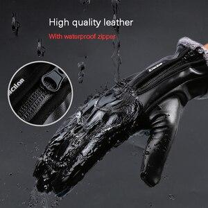 Image 4 - Зимние мужские и женские перчатки для велоспорта, кожаные перчатки с полным пальцем, водонепроницаемые, ветрозащитные, противоскользящие, сенсорный экран, лыжные, спортивные перчатки для спорта на открытом воздухе