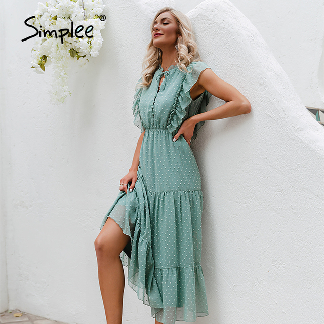 Simplee Summer Loose Casual Ruffled Women's Dress 2021 Holiday Beach Green Buttoned Long Dress Elegant Lady Sleeveless Vestidos 5