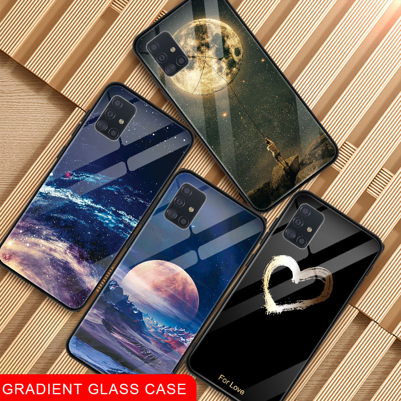 Tempered Glass Phone Case For <font><b>Samsung</b></font> Galaxy A51 <font><b>A50</b></font> A71 A70 A30 A20 S20 Plus S20 Ultra Soft Silicone Edge Pattern <font><b>Back</b></font> <font><b>Cover</b></font> image