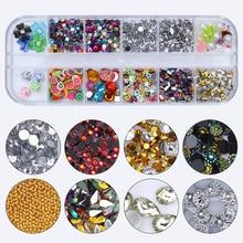 Decoración de Arte de uñas lentejuelas remaches oro plata mezclado colorido 3D decoraciones de uñas cristal para uñas diseños DIY