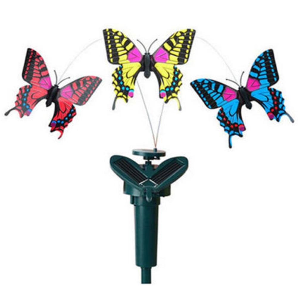 New Beautiful Vibration Solar Power Dancing Flying Fluttering Butterflies Hummingbird Garden Decor
