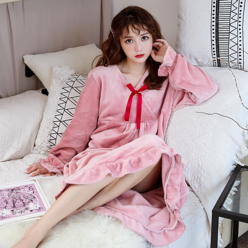 Pink Kawaii Nightgowns Women Chic Ruffle Cuff Ruffle Hem Sleeping Dress Princess Lingerie Long Gown Winter Loose Size Nightdress
