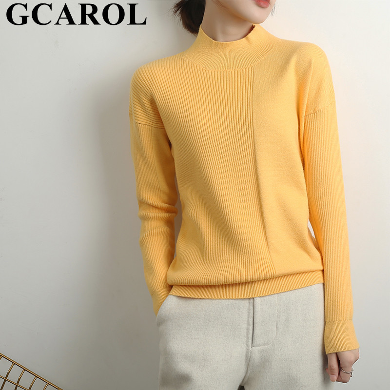 GCAROL Winter Women Minimalist Cashmere Sweater Standard Collar 30% Wool Jacquard Stripes Spliced Jersey Plus Size 2XL Jumper