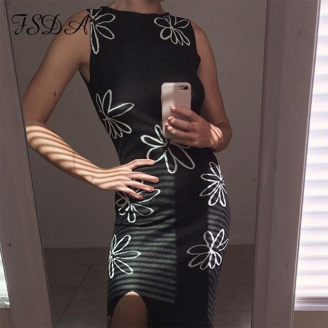 FSDA 2021 O Neck Knitted Bodycon Dress Women Summer Split Backless Sleeveless Y2K Beach Sexy Midi Party Dresses 2