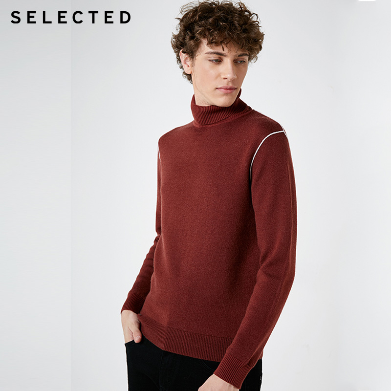 SELECTED Auumn Mens Colour Stitching Leisure Turtleneck Sweater |418424541