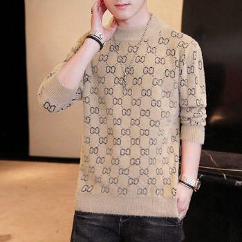New Men s Thickened Korean -Style Fashion round Neck Winter Warm Sweater