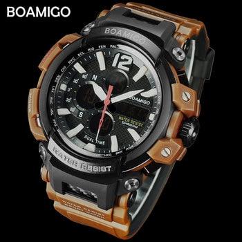 BOAMIGO Brand Men Sports Digital Analog Watches Men's LED Dual Time Clock Water Resistant Shock Wristwatches Relogio Masculino