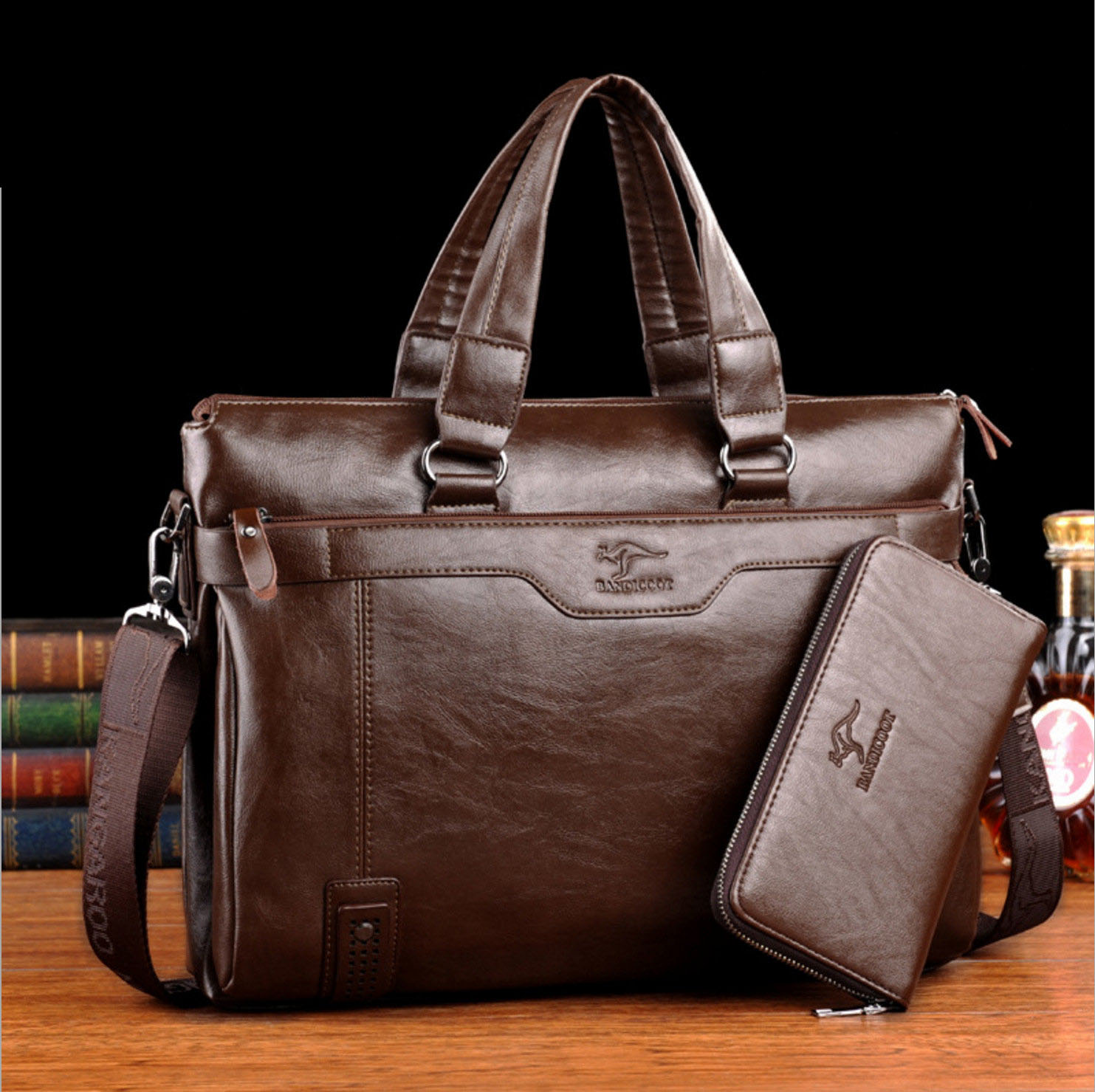 Men's Briefcase 15in Computer Bag Male Leather Briefcase For Men Shoulder Laptop Bag Office Casual Sacoche A Case For Documents