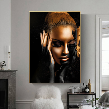 African Wall Art Black and Gold Nude Woman Oil Painting on Canvas Cuadros Posters and Prints Home Decor Picture for Living Room image