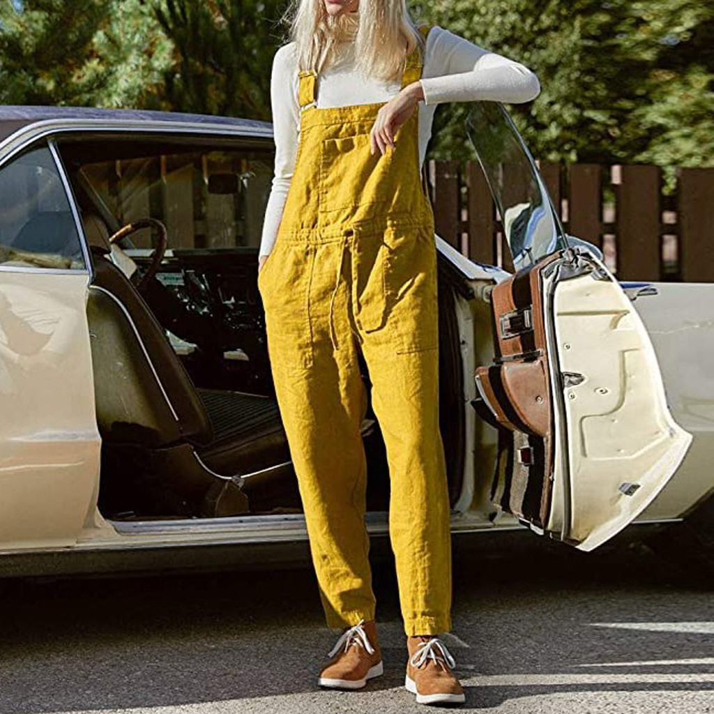 2020 New Womens Jumper Overalls Cami Loose Romper Oversize Ladies Dungarees Jumpsuit Pockets Tank Pants Plus