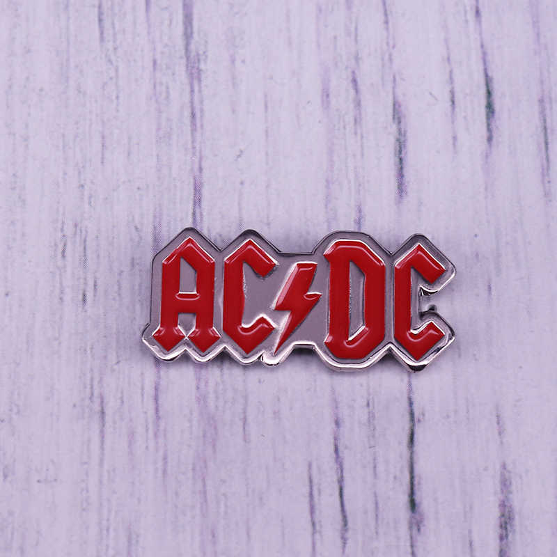 ACDC rock band logo smalto Spille Vintage 1980s Tour Spille posteriore Badge