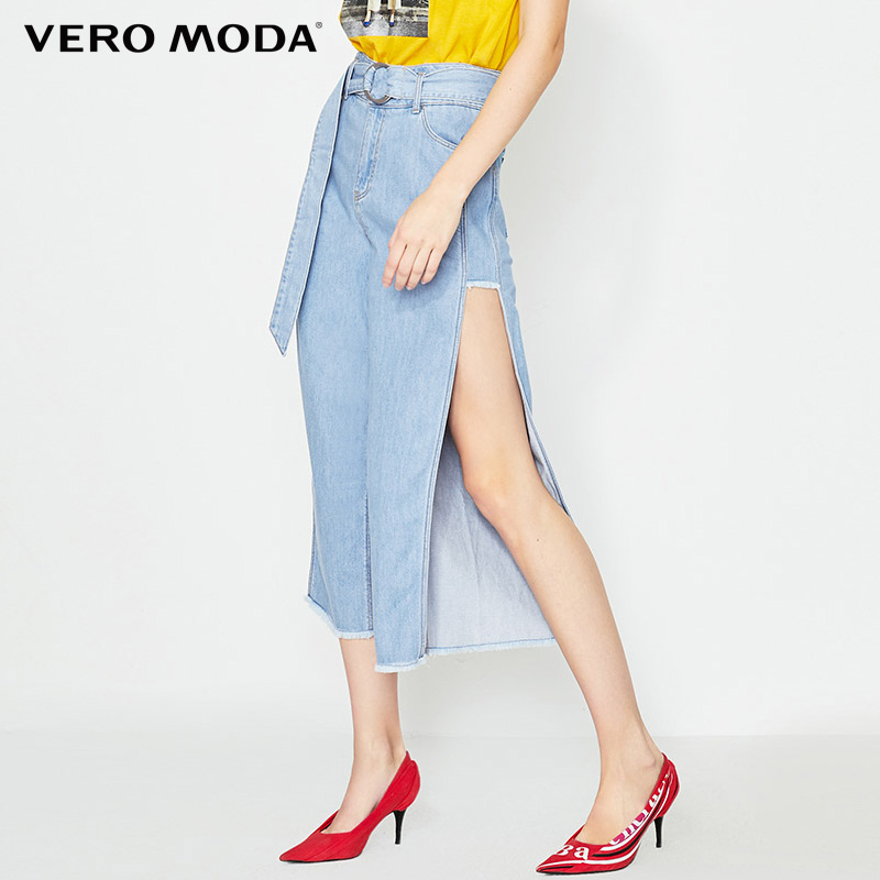 Vero ModaWomen's 100% Cotton High-rise Raw-edge Cuffs Split Jeans| 31926I544