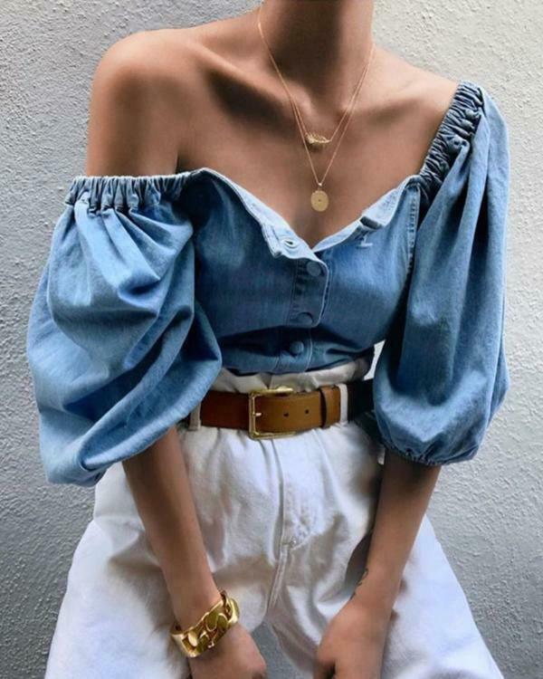 2019 New Fashion Women Sexy Off Shoulder Puff Sleeve Blouse Top 3/4 Sleeve Tops Ladies Blue Denim Blouse Loose Shirt