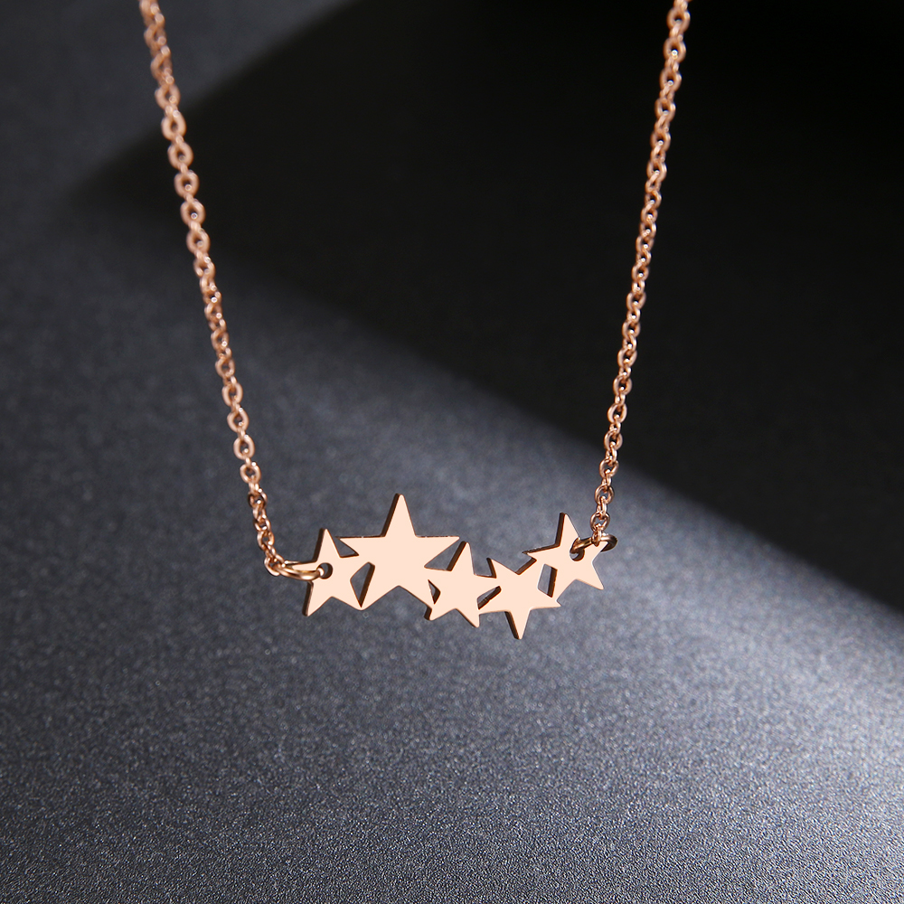DOTIFI Stainless Steel Necklace For Women Lover's Gold/Rose Gold Color Pentacle Pentagram Pendant Necklace Engagement Jewelry