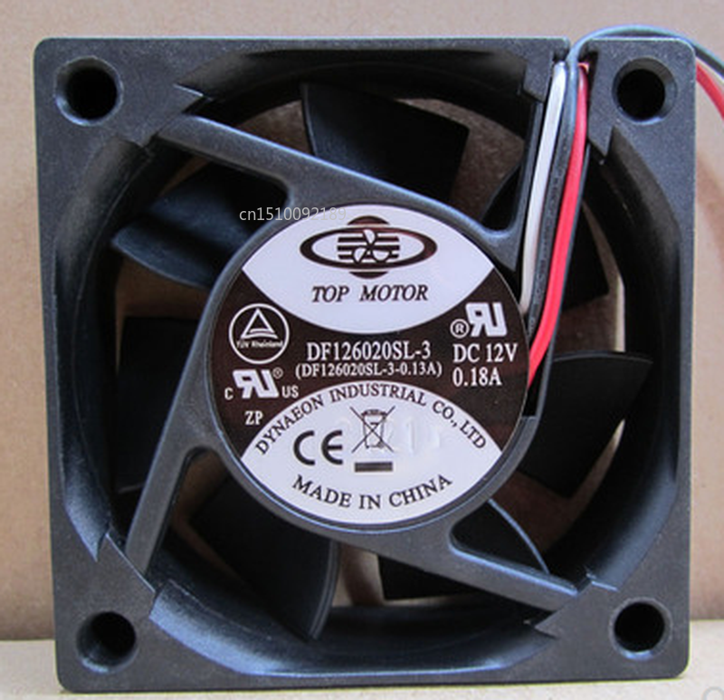 Free Shipping12V 6CM DF126020SL-3 0.18A 60*60*20MM Three-wire Plug Chassis Power Supply CPU Silent Fan