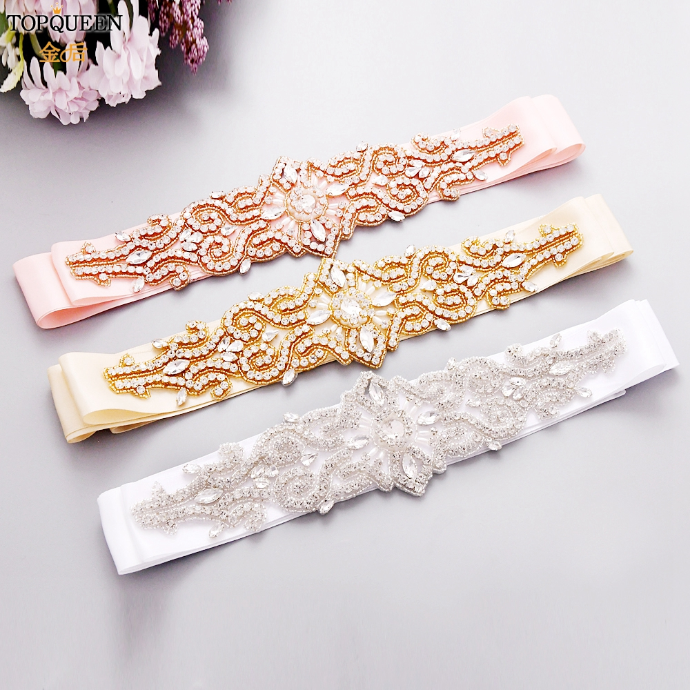 TOPQUEEN Rhinestones Belts For Weddings Gold Belts For Dresses Mariage  Pink Bridesmaid Dress Luxury Rose Gold Bridal Sash S26