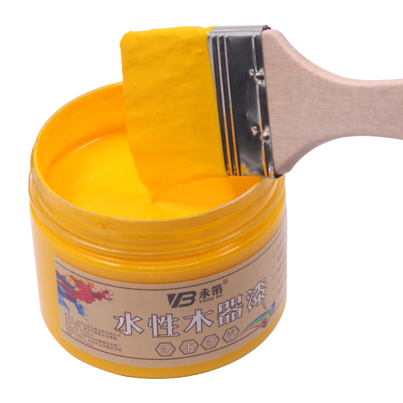 Medium Yellow Water Based Woodwork Paint Water Proof Mildew Proof Lacquer for Wood Fabric Paper Canvas Hand Painted 250g