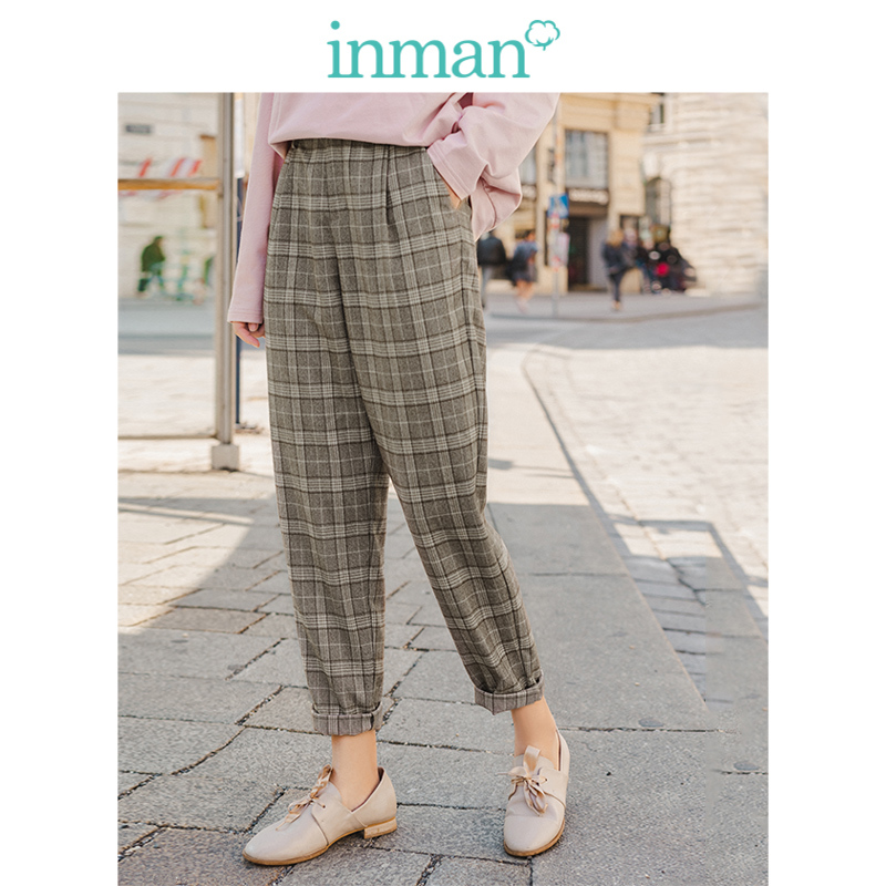 INMAN 2019 Autumn New Arrival Retro English Style Plaid Slim Fashion Women Casual Pencil Pants