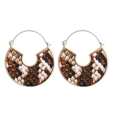 цены Fashion Retro Hoop Earrings Irregular Snakeskin Leather Earrings Artificial PU Accessories Geometric Earrings Women's Jewelry