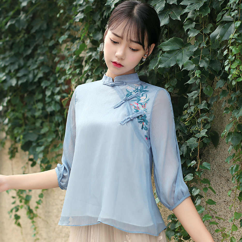 2020 Zomer Chinese Traditionele Cheongsam Tops Voor Vrouwen Zijden Chiffon Blouse Mesh Kant Silkqueen China Kleding Qipao Top Shirt