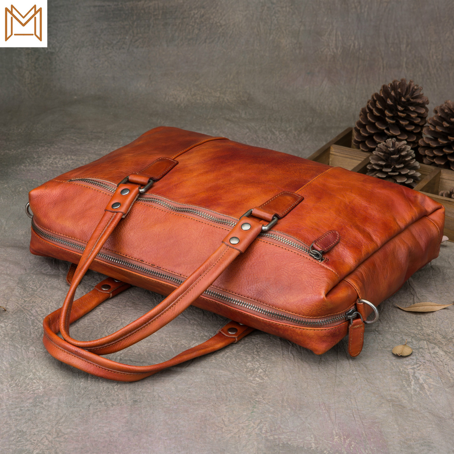 Cowhide Used Briefcase Genuine Leather Male Hand Bill Lading Shoulder Package Crazy Horsehide Messenger