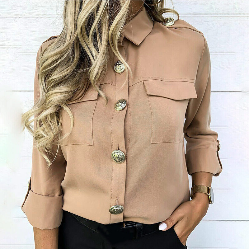 Women's Autumn Blouses and Tops Buttons Turn Down Collar Long Sleeve Shirts Female 2020 Spring Office Ladies Blouse For Women