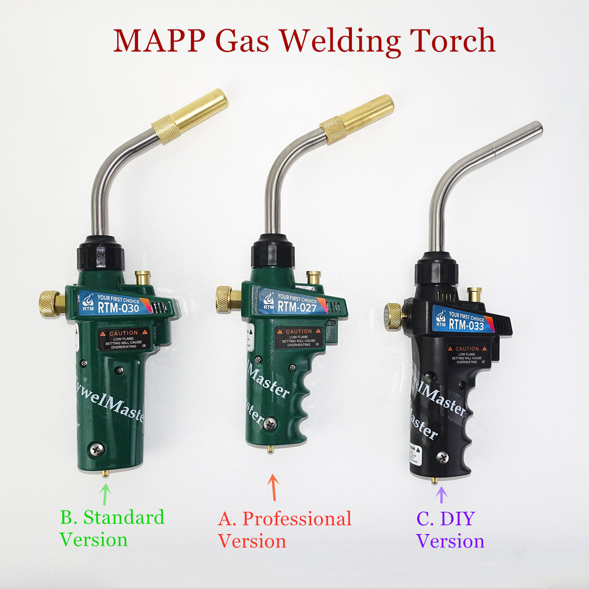 Braze Welding Torch MAPP Propane Gas Torch Piezo Trigger Ignition CGA600 Copper Aluminum Heating Solder Burner