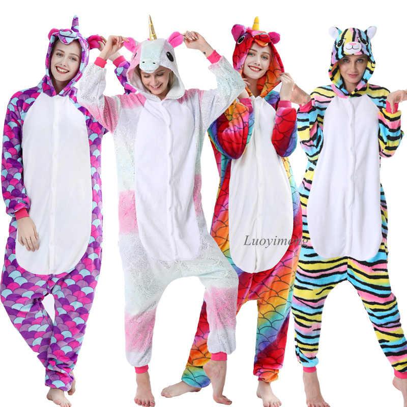 Cão animal kigurumi onesie adultos pijamas pikachu feminino inverno velo unicórnio pijamas macacão licorne macacão panda pijamas