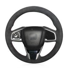 For Honda Civic 10 2016-2019 steering wheel cover black suede leather hand-sewn