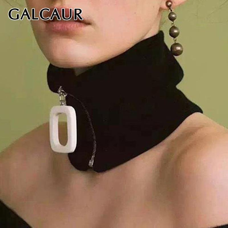 GALCAUR Knitting Zipper Warm Women's Scarf Turtleneck Black Autumn Winter Knitted Scarves For Female 2019 Fashion New Clothing