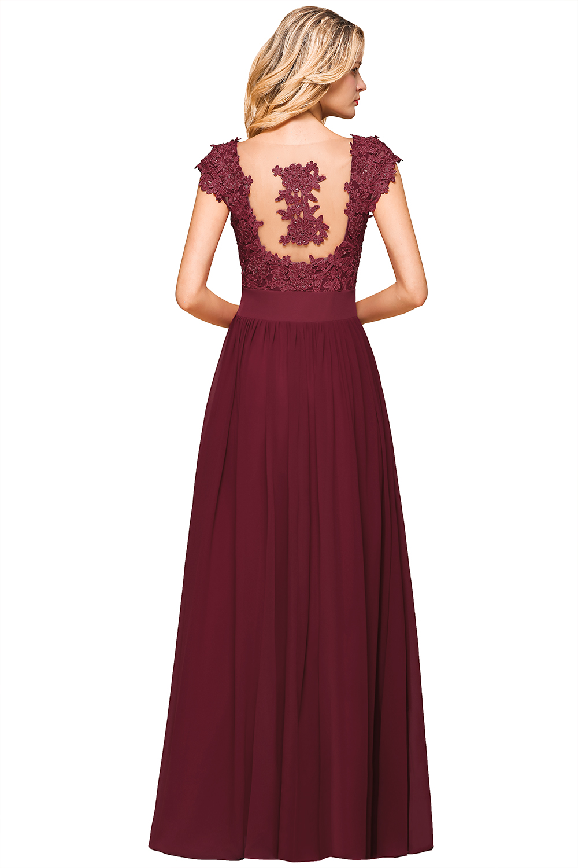 Long Pink Chiffon Bridesmaid Dresses Burgundy Navy Blue Wedding Party Guest Gown Sleeveless Lace robe demoiselle d'honneur 2020